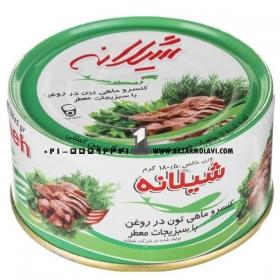 کنسرو ماهی تون در روغن با سبزیجات معطر  180 گرمی شیلانه